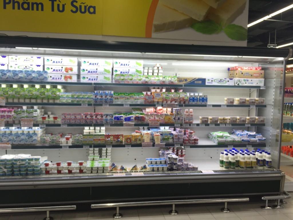 tủ lạnh trưng bày trong siêu thị Hà Nội