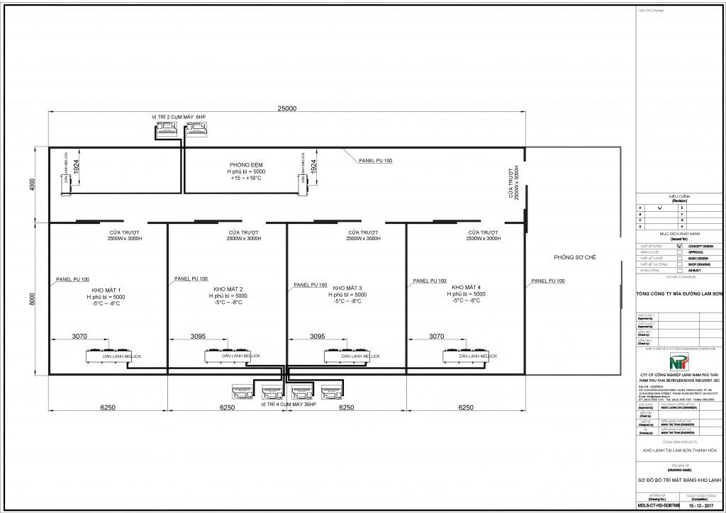 Tính toán, thiết kế kho lạnh cho dự án Tổng công ty mía đường Lam Sơn